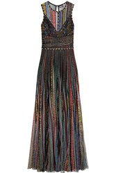 Just Cavalli Satin Trimmed Printed Mesh Gown Black