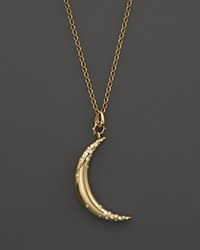 Monica Rich Kosann 18K Yellow Gold Large Crescent Moon Charm Necklace With Diamond Accents 32 Gold White