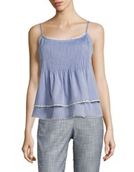 T Tahari Embroidered Cotton Tiered Tank Light Blue