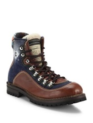 Dsquared St. Moritz Leather Denim And Wool Work Boots Brown Blue