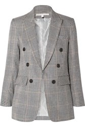 Veronica Beard Bexley Dickey Prince Of Wales Checked Linen And Cotton Blend Blazer Navy