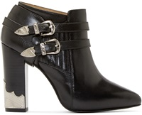 Toga Pulla Black Harness Ankle Boots