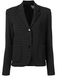 Majestic Filatures Striped Single Breasted Blazer Black