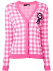 Love Moschino Embellished Gingham Cardigan Pink Purple