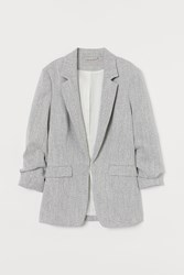 Handm H M Jacket With Gathered Sleeves Gray