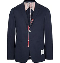 Thom Browne Midnight Blue Slim Fit Cotton Twill Blazer Blue