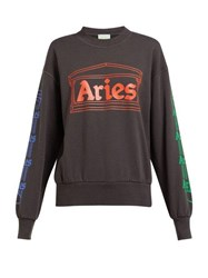 Aries Logo Print Cotton Sweatshirt Grey Multi