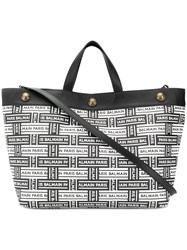 Balmain All Over Logo Tote Bag Black