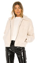 Michael Stars Mindy Zip Sherpa Bomber Jacket In Ivory. Chalk
