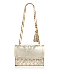 Tory Burch Fleming Small Metallic Shoulder Bag Sparkle Gold