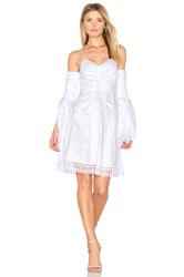 Nicholas Gathered Bell Sleeve Dress White