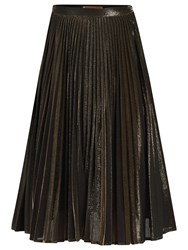 Jolie Moi Metallic Pleated A Line Skirt Black Gold
