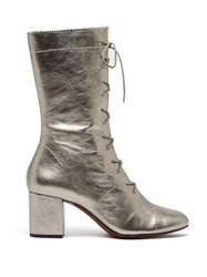 Alexachung Forever Metallic Lace Up Leather Boots Silver