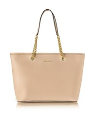 Michael Kors Oyster Saffiano Leather Jet Set Travel Chain T Zip Multifunction Tote Nude