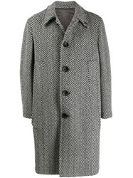Gabriele Pasini Herringbone Button Coat Grey