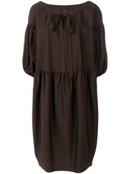 Aspesi Gathered Sleeves Dress Brown