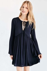 Ecote Crochet Trim Bell Sleeve Mini Dress Navy