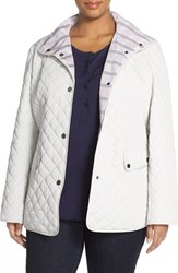 Plus Size Women's Gallery Plaid Trim Quilted Barn Jacket Cloud