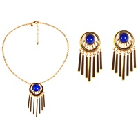 Alice Joseph Vintage Ciro Gold Plated Glass Necklace Earring Set Gold