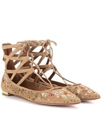 Aquazzura Belgravia Flat Embroidered Suede Ballerinas Brown