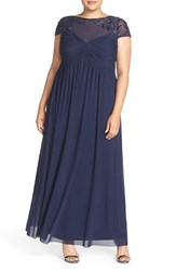 Plus Size Women's Marina Embellished Yoke Mesh Fit And Flare Gown