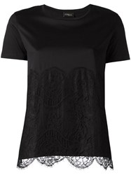 Les Copains Lace Panel T Shirt Black