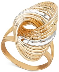 Macy's Two Tone Multi Row Love Knot Statement Ring Gold