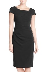 Adrianna Papell Women's Ruched Matte Stretch Crepe Sheath Dress Black