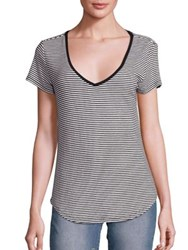 Paige Lynnea Ribbed T Shirt Black White Stripes