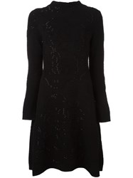 Emporio Armani Ribbed Knit Flared Dress Black