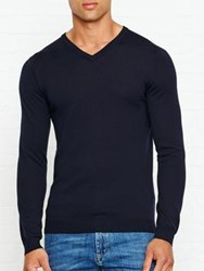 Reiss Emporer Merino V Neck Jumper Navy