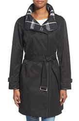 Women's Gallery Plaid Lined Belted Asymmetrical Trench