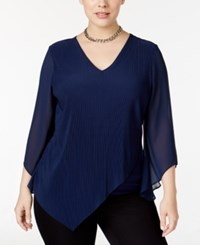 Alfani Plus Size Multi Texture Asymmetric Overlay Top Only At Macy's Navy Nautical