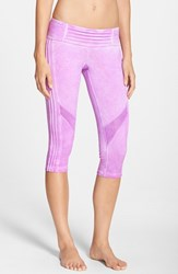 Women's Pink Lotus 'Spark' Oil Washed Pintuck Capri Leggings