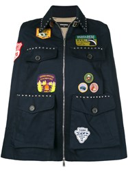 Dsquared2 Patch Applique And Studded Cape Blue