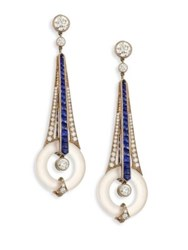 Fred Leighton Diamond Sapphire And Rock Crystal Drop Earrings Gold Blue Sapphire