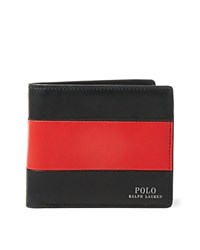 Polo Ralph Lauren Racing Stripe Leather Billfold Red Black