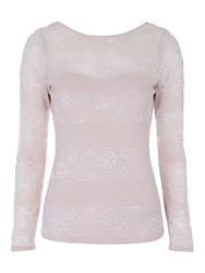 Jane Norman Stripe Lace Sweetheart Top Pink