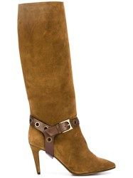 L'autre Chose Buckle Detail Boots Brown