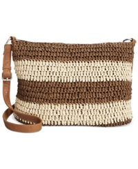 Straw Studios Stripe Crossbody Brown