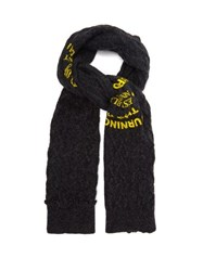 Raf Simons Logo Print Cable Knit Wool Scarf Dark Grey