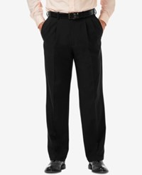 Haggar Men's Cool 18 Pro Classic Fit Stretch Pleated Dress Pants Black