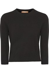 Michael Kors Collection Cropped Stretch Knit Sweater Black