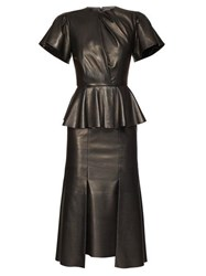 Alexander Mcqueen Bell Sleeve Peplum Leather Midi Dress Black