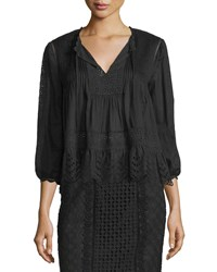 Rebecca Taylor 3 4 Sleeve Cotton Voile Lace Trim Top Black