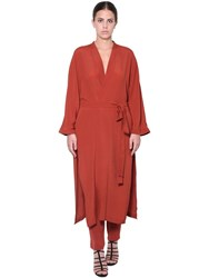 Marina Rinaldi Crepe De Chine Long Dust Coat Brick
