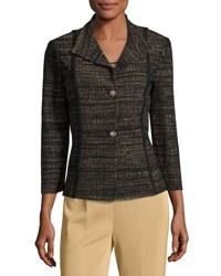 Ming Wang Two Button Knit Jacket Brown Black