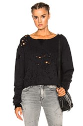 Amiri Off Shoulder Cropped Shotgun Sweatshirt In Black