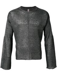 Rick Owens Ribbed Knit Sweater Grey