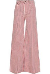 Rockins Striped High Rise Wide Leg Jeans Red